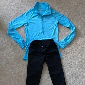 UA aqua blue top and crop legging XS women